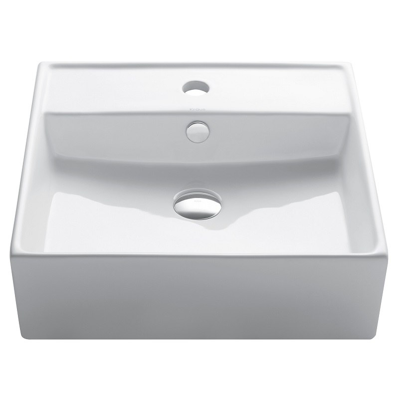 KRAUS KCV-150 WHITE 18.6 INCH SQUARE CERAMIC SINK AND POP UP DRAIN WITH OVERFLOW