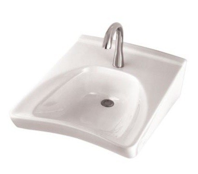 TOTO LT308.4 COMMERCIAL 20-1/2 X 27 INCH WALL-MOUNT WHEELCHAIR USER'S LAVATORY ONLY WITH 4 INCH FAUCET CENTERS