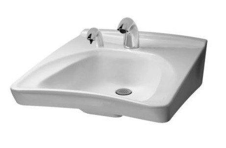 TOTO LT308.11A COMMERCIAL 20-1/2 X 27 INCH WALL-MOUNT WHEELCHAIR USER'S LAVATORY ONLY WITH 11 INCH FAUCET CENTERS RIGHT SIDE SOAP HOLE