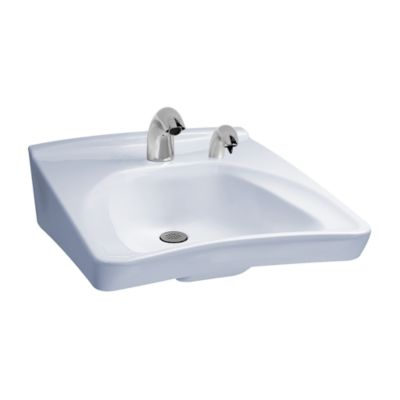 TOTO LT308A COMMERCIAL 20-1/2 X 27 INCH WALL-MOUNT WHEELCHAIR USER'S LAVATORY ONLY WITH SINGLE HOLE RIGHT SIDE SOAP HOLE