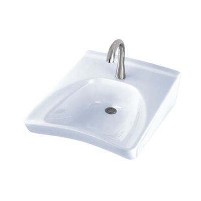 TOTO LT308 COMMERCIAL 20-1/2 X 27 INCH WALL-MOUNT WHEELCHAIR USER'S LAVATORY ONLY WITH SINGLE HOLE