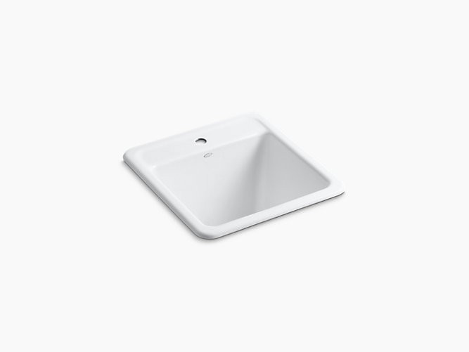 KOHLER K-19022-1 PARK FALLS 21 INCH SINGLE BASIN UNDERMOUNT OR DROP IN CAST IRON UTILITY SINK WITH SINGLE FAUCET HOLE