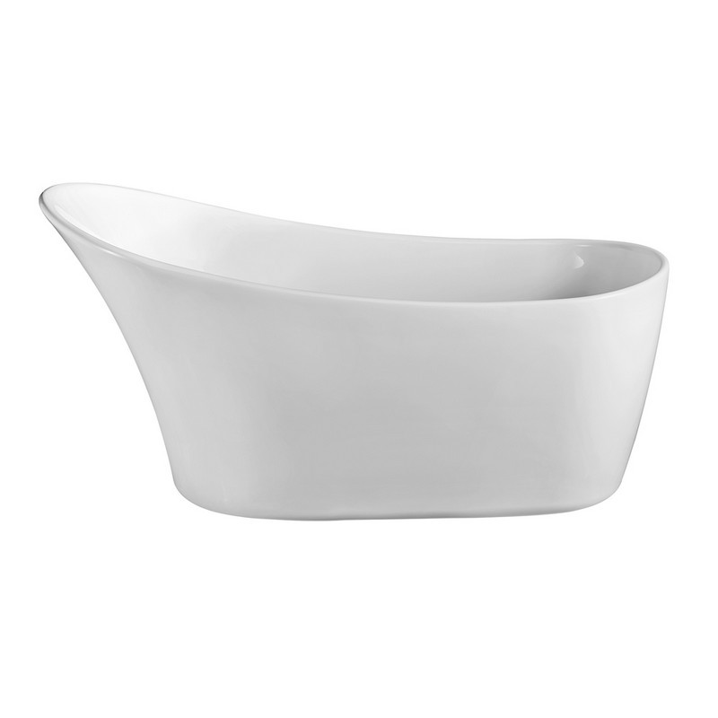 STREAMLINE N820-IN-BL 59 INCH SOAKING FREE-STANDING TUB AND TRAY WITH INTERNAL DRAIN IN GLOSSY WHITE