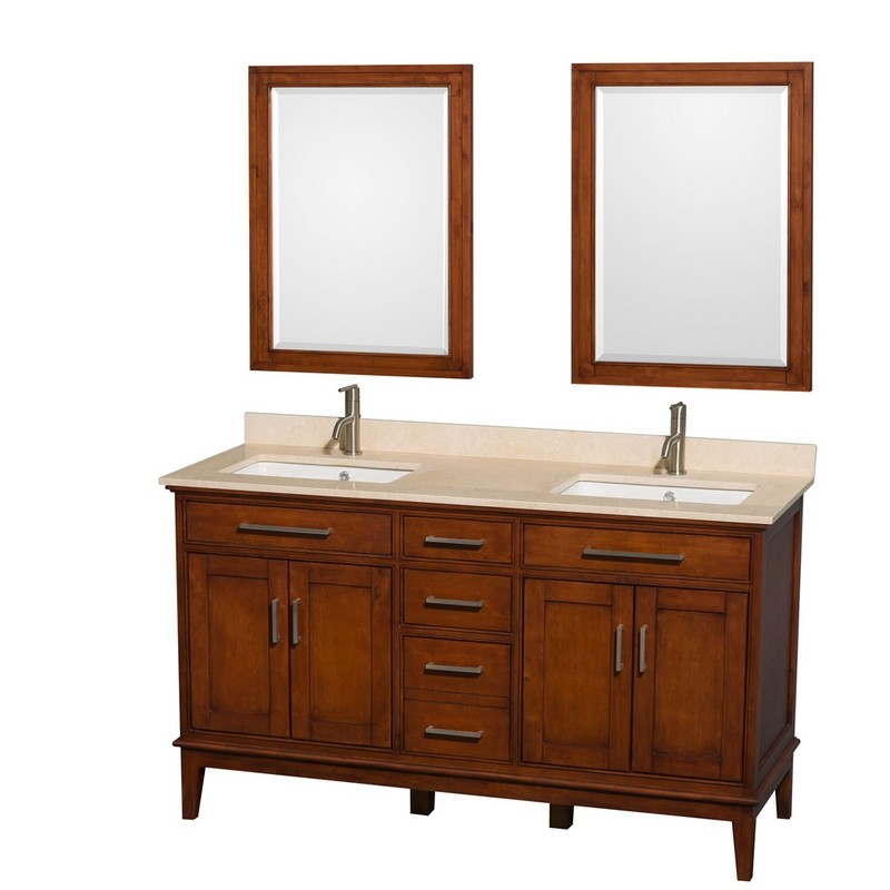 WYNDHAM COLLECTION WCV161660DCLIVUNSM24 HATTON 60 INCH LIGHT CHESTNUT, IVORY MARBLE COUNTERTOP, UNDERMOUNT SQUARE SINKS