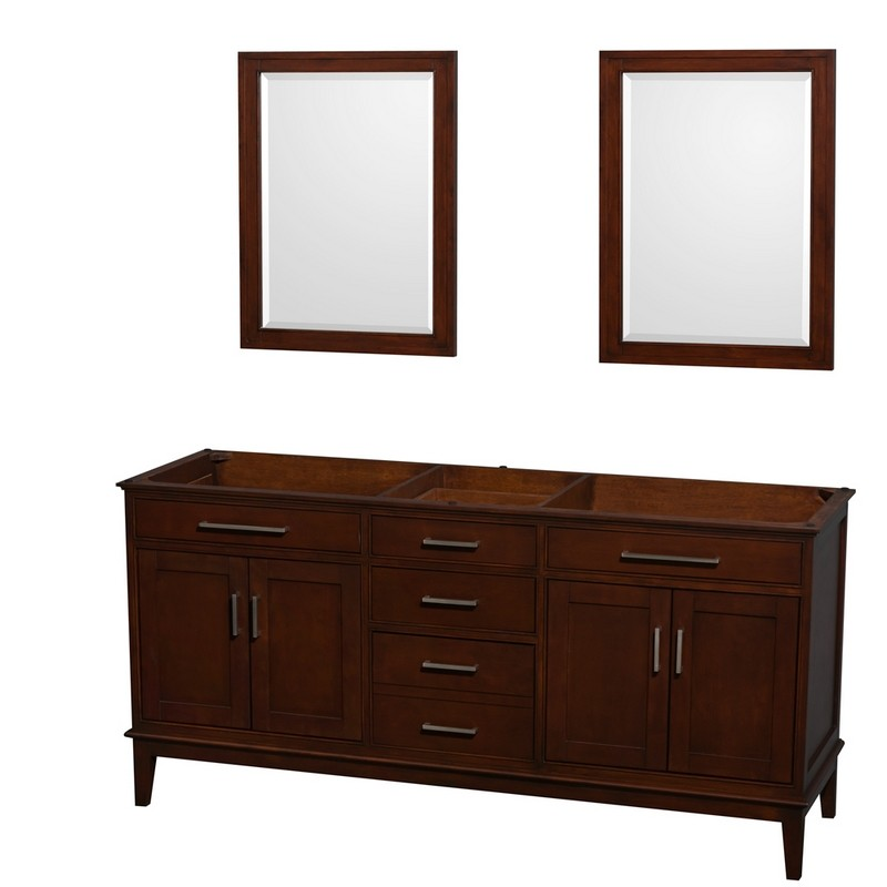 WYNDHAM COLLECTION WCV161672DCDCXSXXM24 HATTON 72 INCH DOUBLE BATHROOM VANITY IN DARK CHESTNUT, NO COUNTERTOP, NO SINKS, AND 24 INCH MIRRORS