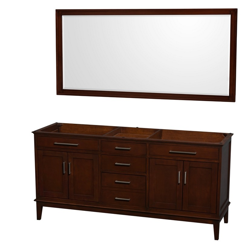 WYNDHAM COLLECTION WCV161672DCDCXSXXM70 HATTON 72 INCH DOUBLE BATHROOM VANITY IN DARK CHESTNUT, NO COUNTERTOP, NO SINKS, AND 70 INCH MIRROR