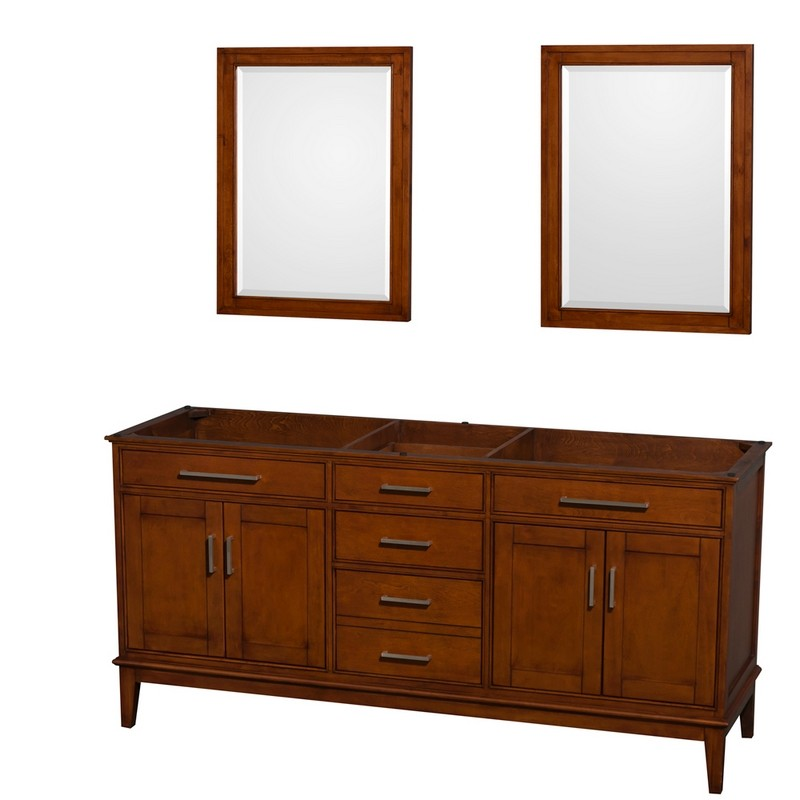 WYNDHAM COLLECTION WCV161672DCLCXSXXM24 HATTON 72 INCH DOUBLE BATHROOM VANITY IN LIGHT CHESTNUT, NO COUNTERTOP, NO SINKS, AND 24 INCH MIRRORS