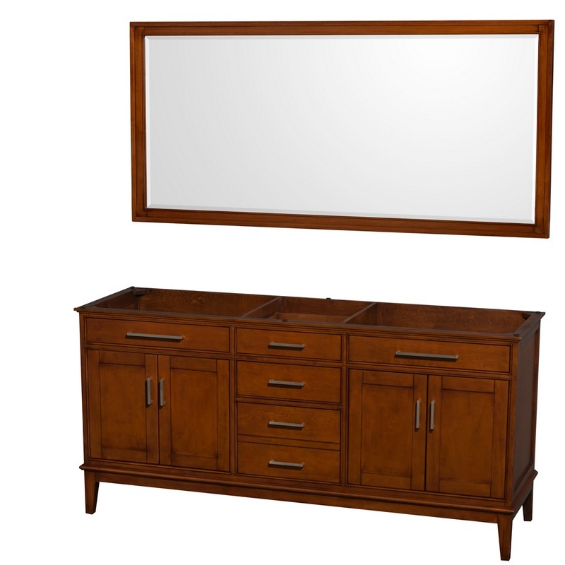 WYNDHAM COLLECTION WCV161672DCLCXSXXM70 HATTON 72 INCH DOUBLE BATHROOM VANITY IN LIGHT CHESTNUT, NO COUNTERTOP, NO SINKS, AND 70 INCH MIRROR