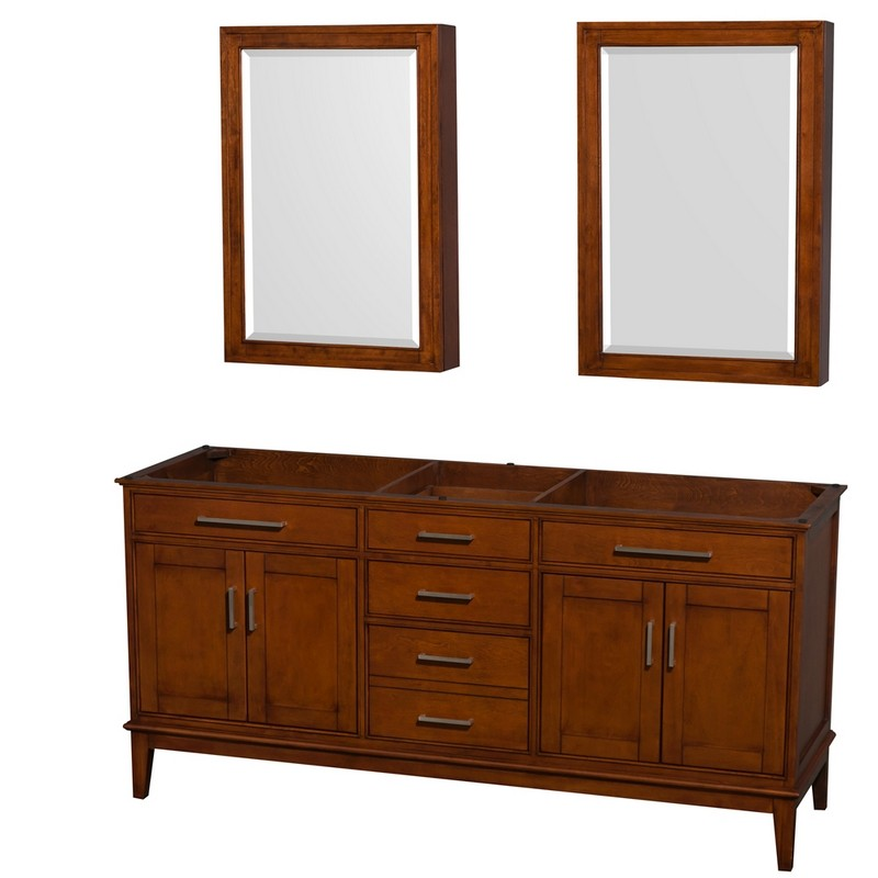 WYNDHAM COLLECTION WCV161672DCLCXSXXMED HATTON 72 INCH DOUBLE BATHROOM VANITY IN LIGHT CHESTNUT, NO COUNTERTOP, NO SINKS, AND MEDICINE CABINETS