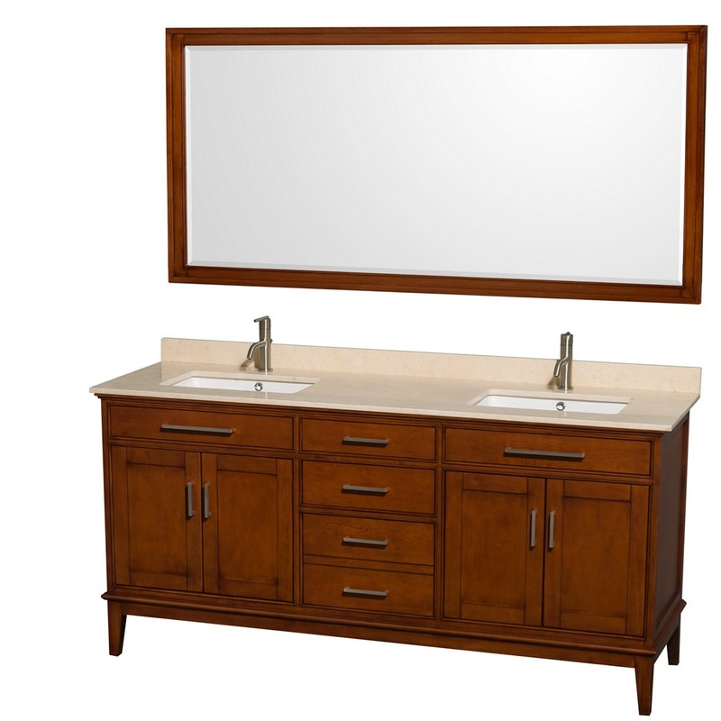 WYNDHAM COLLECTION WCV161672DCLIVUNSM70 HATTON 72 INCH LIGHT CHESTNUT, IVORY MARBLE COUNTERTOP, UNDERMOUNT SQUARE SINKS