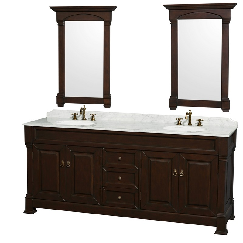 WYNDHAM COLLECTION WCVTRAD80DDCCMUNDM28 ANDOVER DOUBLE DARK CHERRY 80 INCH WITH WHITE CARRERA MARBLE TOP