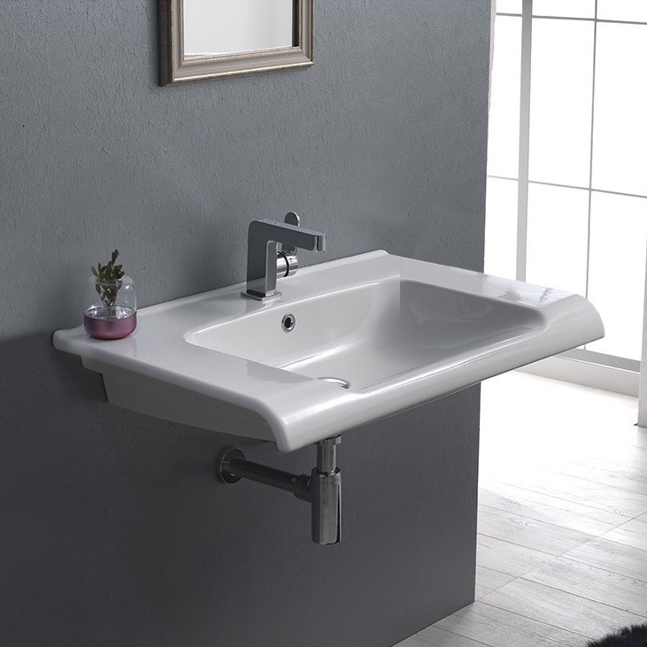 CERASTYLE 090700-U ANOVA 32 X 19 INCH RECTANGLE WHITE CERAMIC WALL MOUNTED OR SELF RIMMING SINK