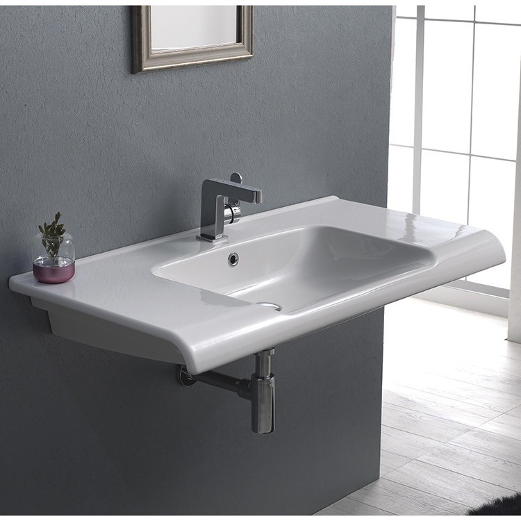 CERASTYLE 090800-U ANOVA 39 X 20 INCH RECTANGLE WHITE CERAMIC WALL MOUNTED OR SELF RIMMING SINK