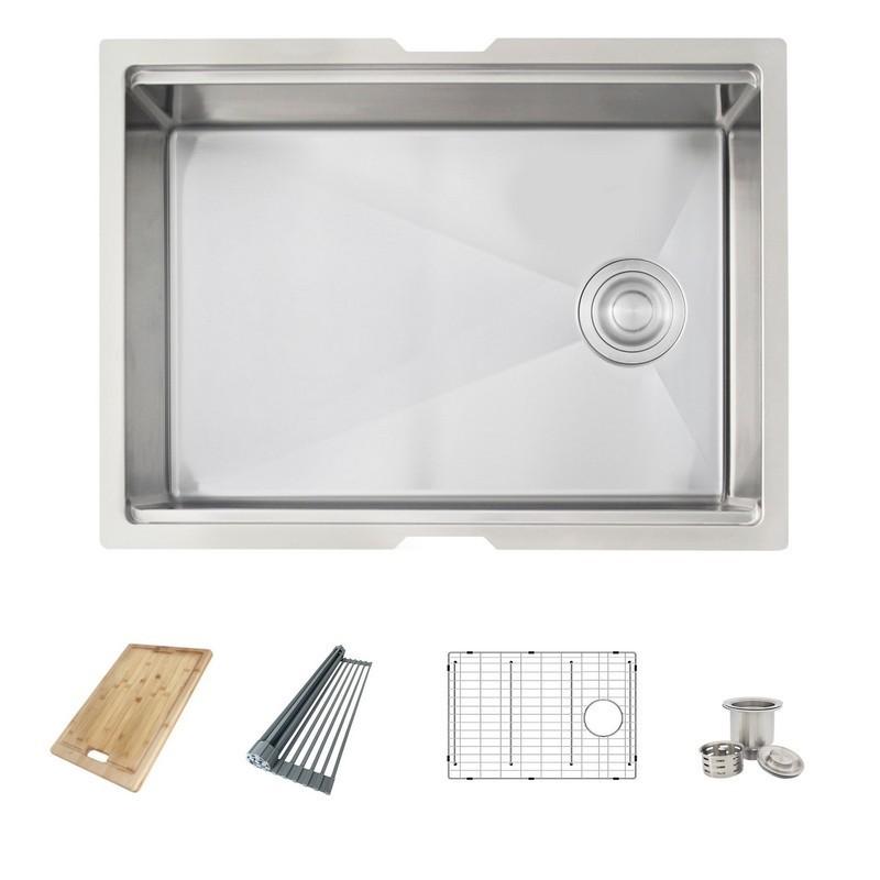 Azuni C126l 25 X 19 Inch Single Basin Undermount Kitchen Sink With Grid Strainer Drying Rack
