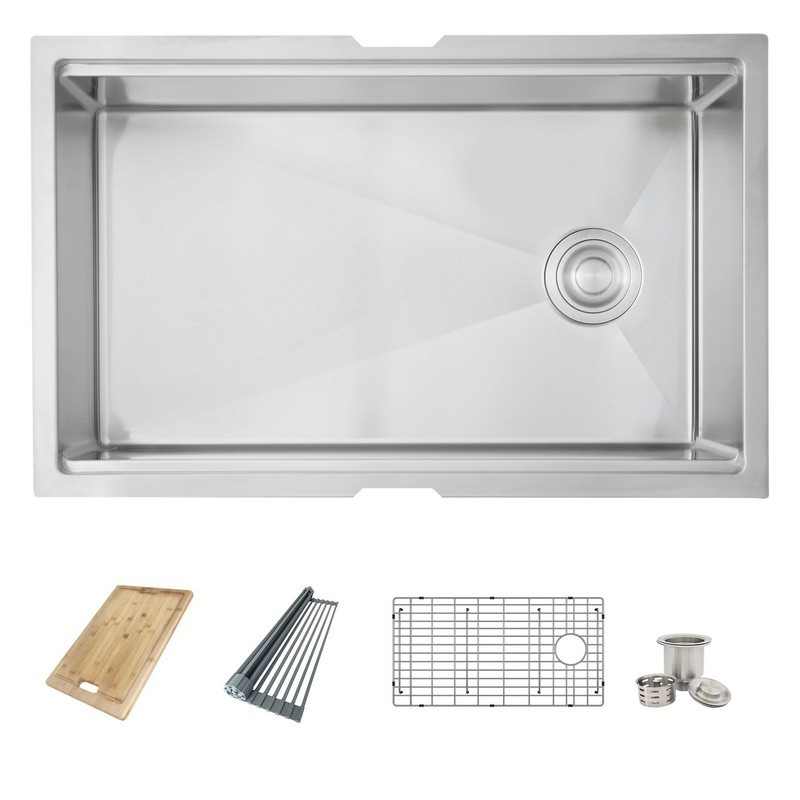AZUNI C131L 30 X 19 INCH SINGLE BOWL UNDERMOUNT KITCHEN SINK WITH GRID, BASKET STRAINER, DRYING RACK AND BAMBOO CUTTING BOARD