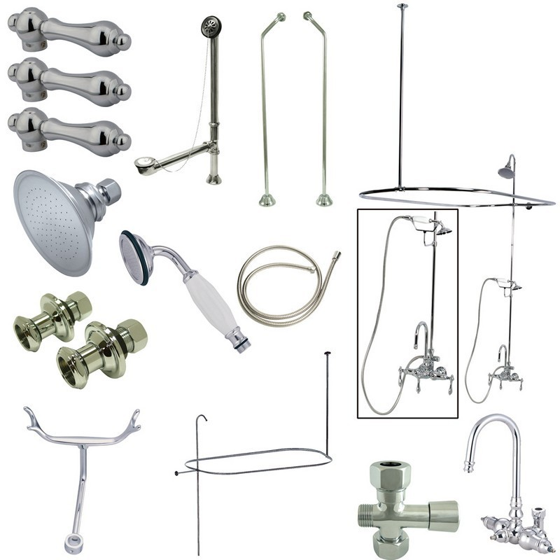 KINGSTON BRASS CCK2181AL VINTAGE HIGH RISE GOOSENECK CLAWFOOT TUB AND SHOWER PACKAGE WITH METAL LEVER HANDLES IN POLISHED CHROME
