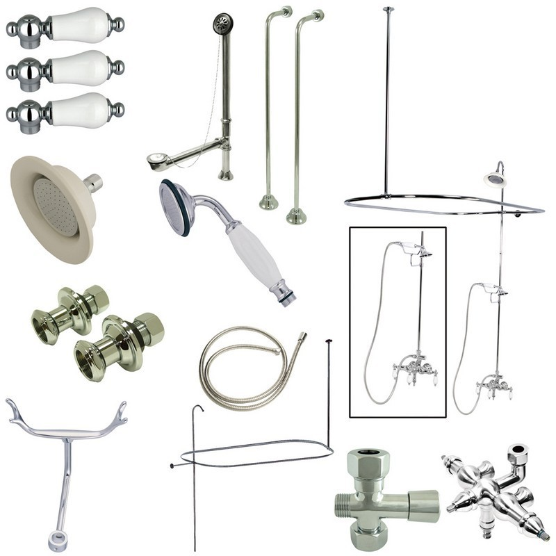 KINGSTON BRASS CCK3141PL VINTAGE DOWN SPOUT PACKAGE WITH PORCELAIN LEVER HANDLES IN POLISHED CHROME
