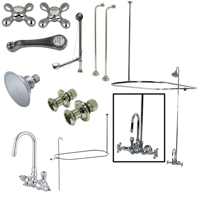 KINGSTON BRASS CCK4141AX VINTAGE WALL MOUNT HIGH RISE CLAWFOOT TUB AND SHOWER PACKAGE WITH METAL CROSS HANDLES IN POLISHED CHROME