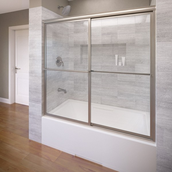 BASCO DLXH05A5958 DELUXE FRAMED SLIDING BATHTUB SHOWER DOOR, FITS 57 - 59 INCH OPENING