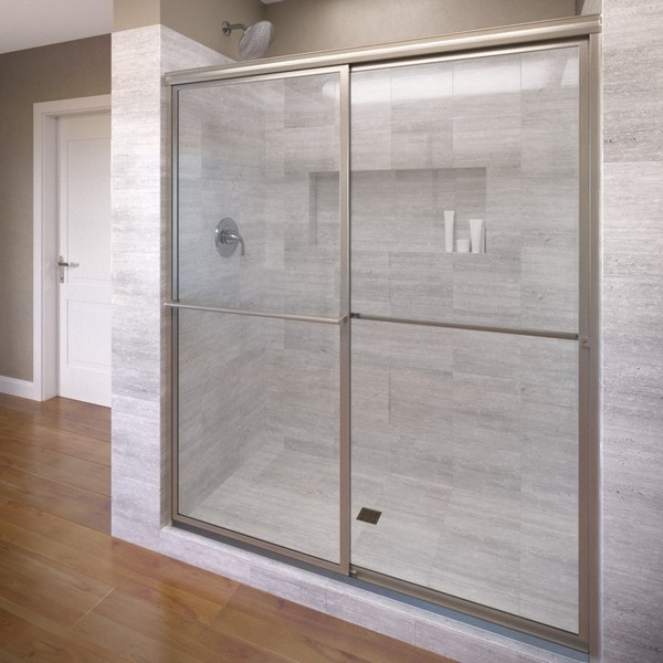 BASCO DLXH05A5971 DELUXE FRAMED SLIDING SHOWER DOOR, FITS 57 - 59 INCH OPENING