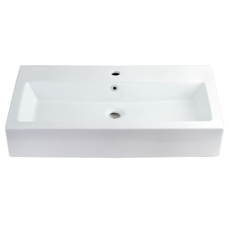 KINGSTON BRASS EV3217 FAUCETURE ADELAIDE ELONGATED 32 X 17 INCH RECTANGULAR WHITE VESSEL SINK