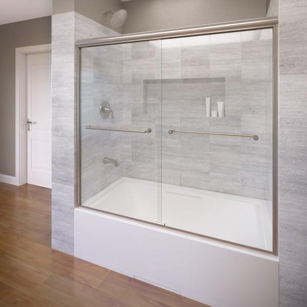 BASCO INFH05A5857 INFINITY SEMI - FRAMELESS SLIDING BATHTUB SHOWER DOOR, FITS 54.5 - 58.5 INCH OPENING