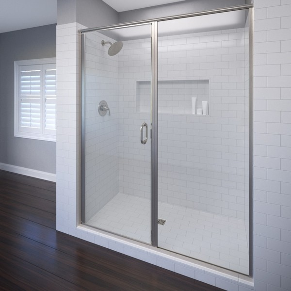 BASCO INFH35A5876 INFINITY SEMI - FRAMELESS SWING SHOWER DOOR & PANEL, FITS 57 - 58 INCH OPENING