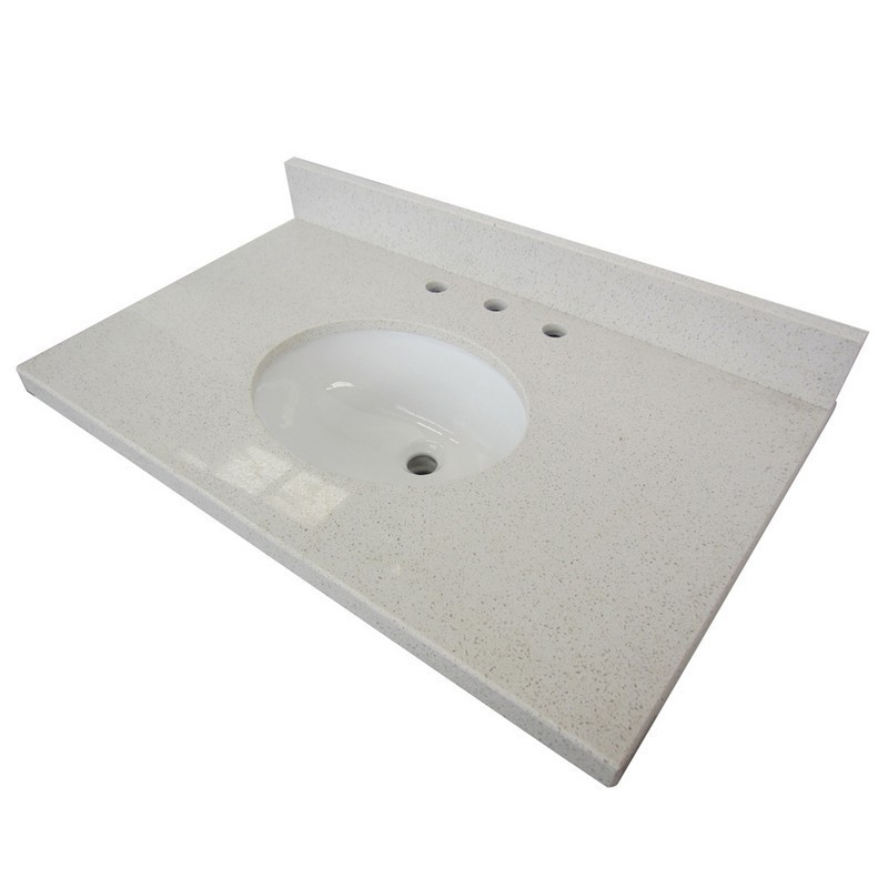 KINGSTON BRASS KVPB3022WQ38 FAUCETURE TEMPLETON WHITE QUARTZ VANITY WITH TOPS WITH 17 X 14 INCH UNDER MOUNT SINK
