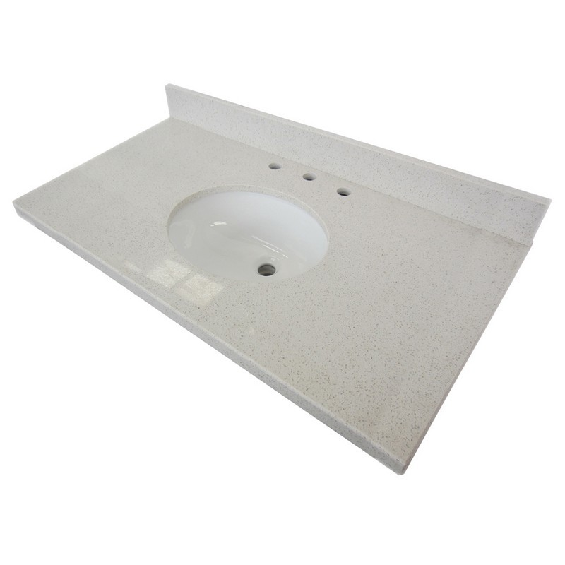 KINGSTON BRASS KVPB3622WQ38 FAUCETURE TEMPLETON WHITE QUARTZ VANITY WITH TOPS WITH 17 X 14 INCH UNDER MOUNT SINK