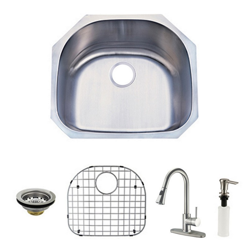 Kingston Brass Kzgkus2321f Loft Undermount Single Bowl Kitchen Sink And Faucet Combo In Brushed Nickel