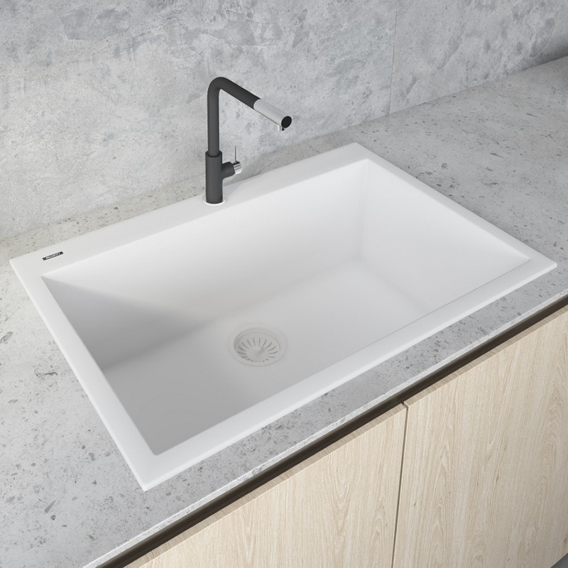 Ruvati Rvg1080wh Epigranite 33 X 22 Inch Drop In Topmount Granite Composite Single Bowl Kitchen Sink