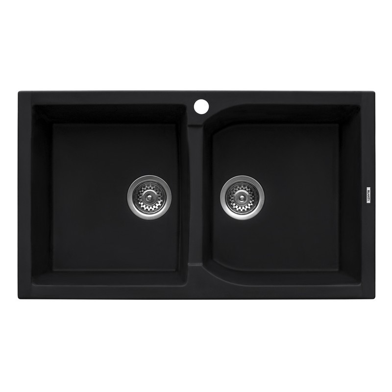 RUVATI RVG1319BK 34 X 20 INCH EPIGRANITE DUAL-MOUNT GRANITE COMPOSITE DOUBLE BOWL KITCHEN SINK