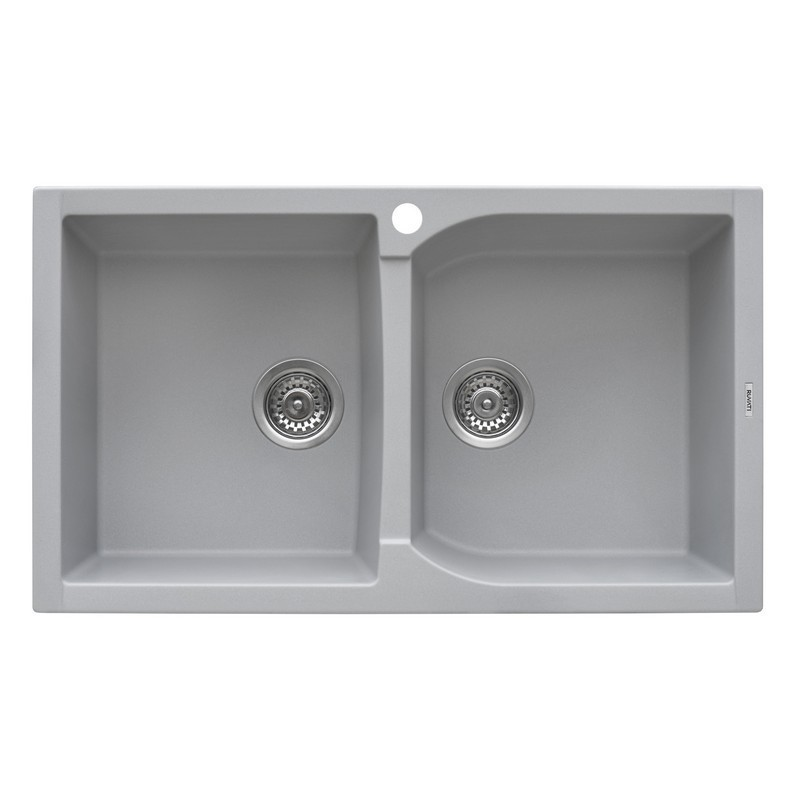 RUVATI RVG1319GR 34 X 20 INCH EPIGRANITE DUAL-MOUNT GRANITE COMPOSITE DOUBLE BOWL KITCHEN SINK IN SILVER GRAY