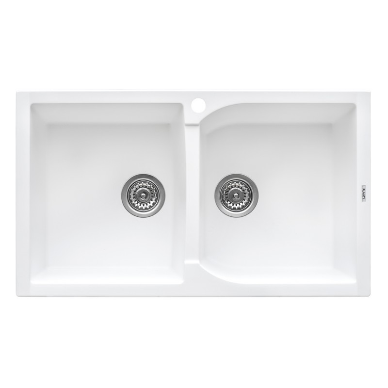 RUVATI RVG1319WH 34 X 20 INCH EPIGRANITE DUAL-MOUNT GRANITE COMPOSITE DOUBLE BOWL KITCHEN SINK IN WHITE