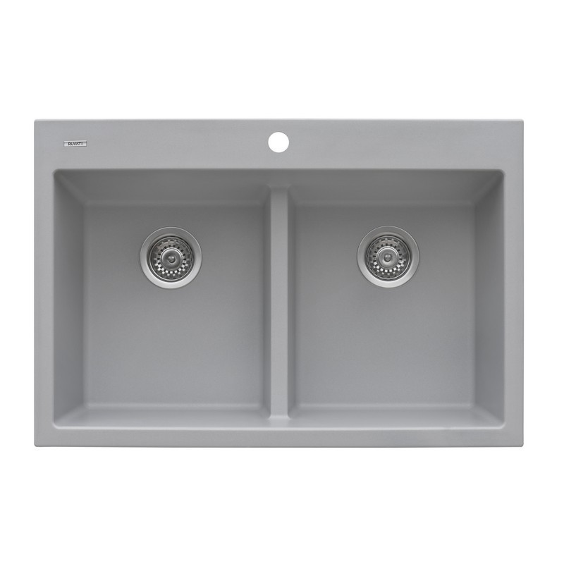 RUVATI RVG1385GR 33 X 22 INCH EPIGRANITE DUAL-MOUNT GRANITE COMPOSITE DOUBLE BOWL KITCHEN SINK IN SILVER GRAY