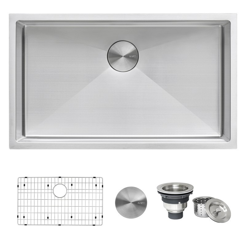 RUVATI RVH7433 GRAVENA 33 X 19 INCH UNDERMOUNT 16 GAUGE TIGHT RADIUS LARGE STAINLESS STEEL SINGLE BOWL KITCHEN SINK