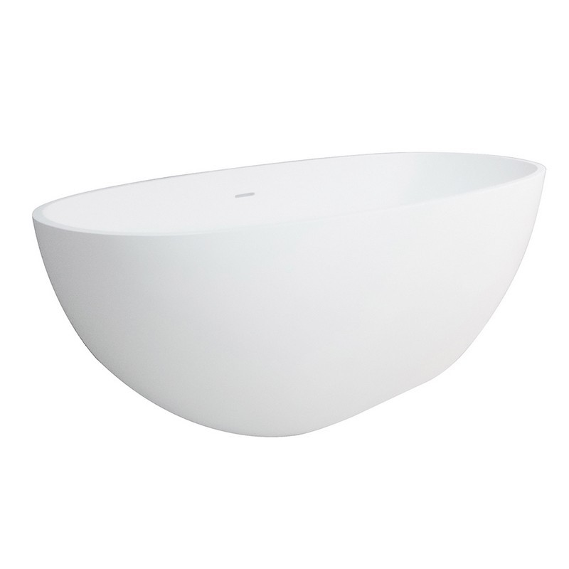 KINGSTON BRASS VRTRS653123 AQUA EDEN 65-INCH FREESTANDING OVAL SOLID SURFACE WHITE STONE TUB IN MATTE WHITE