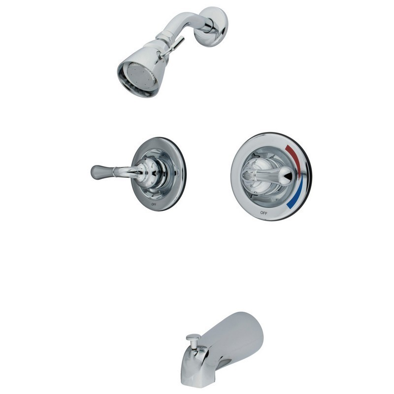 KINGSTON BRASS KB67 MAGELLAN TWIN HANDLES TUB SHOWER FAUCET PRESSURE BALANCED WITH VOLUME CONTROL