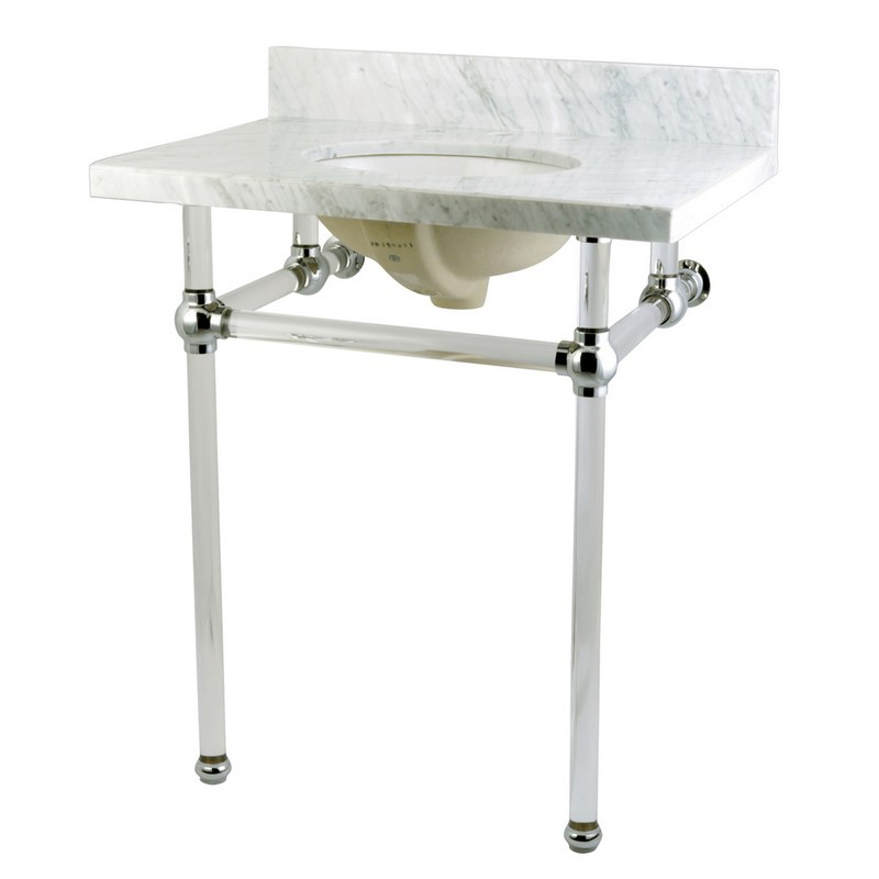 KINGSTON BRASS KVPB30MA TEMPLETON 30 X 22 INCH MARBLE VANITY WITH SINK AND ACRYLIC FEET COMBO