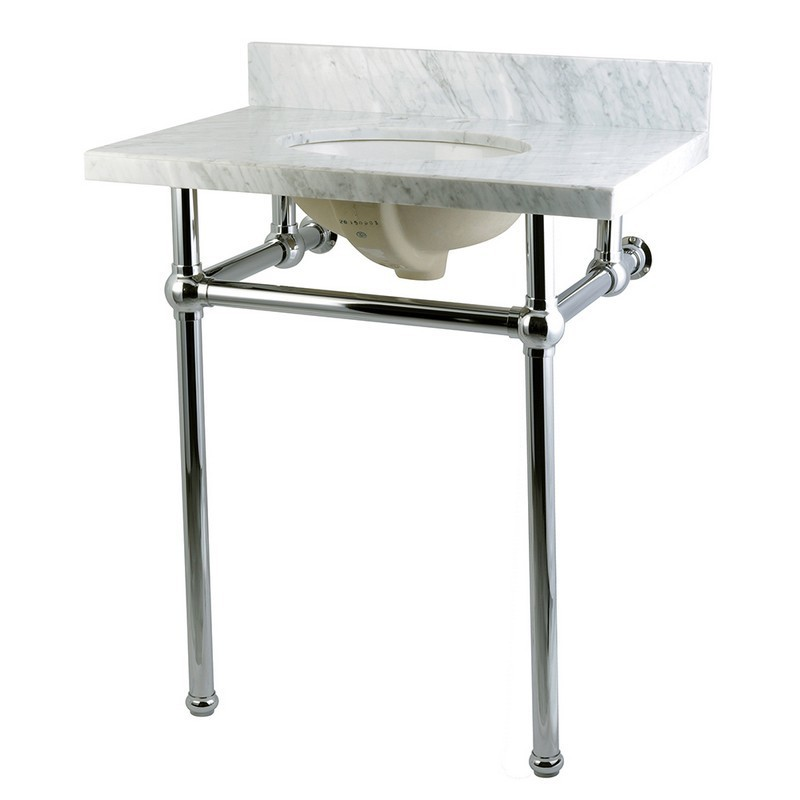 KINGSTON BRASS KVPB30MB TEMPLETON 30X22 MARBLE VANITY WITH SINK AND BRASS FEET COMBO