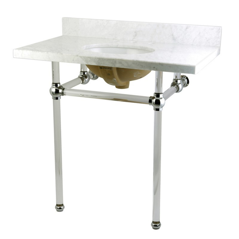 KINGSTON BRASS KVPB36MA TEMPLETON 36 X 22 INCH MARBLE VANITY WITH SINK AND ACRYLIC FEET COMBO