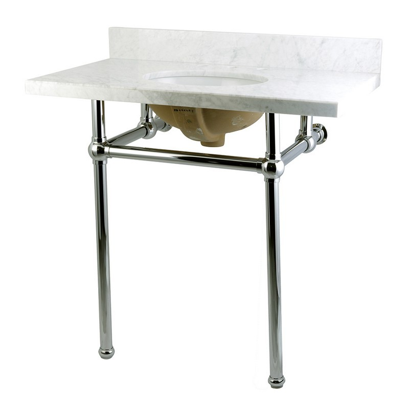 KINGSTON BRASS KVPB36MB TEMPLETON 36 X 22 INCH MARBLE VANITY WITH SINK AND BRASS FEET COMBO