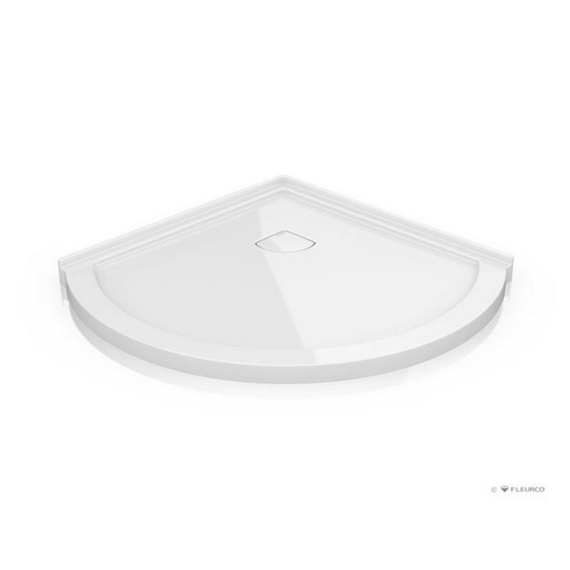 FLEURCO ALB40-18-B ALB ARC 42-7/8 X 39-3/8 INCH CORNER BASE LOW PROFILE WITH CONCEALED CORNER DRAIN IN WHITE, NON LUCITE