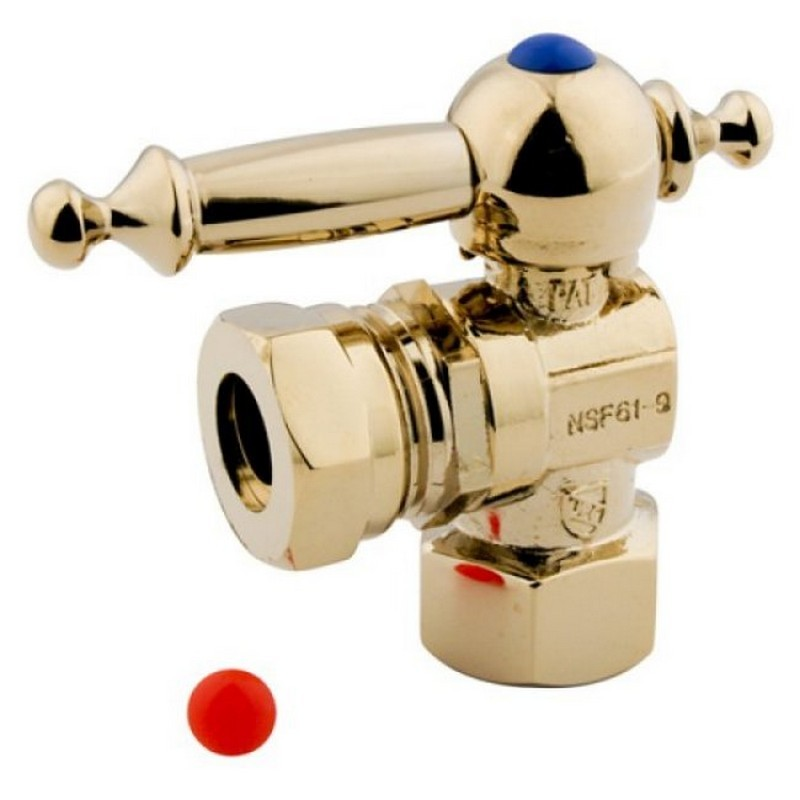 KINGSTON BRASS CC44102TL VINTAGE 1/2 INCH IPS, 1/2 INCH OR 7/16 INCH SLIP JOINT ANGLE SHUT-OFF VALVE IN POLISHED BRASS