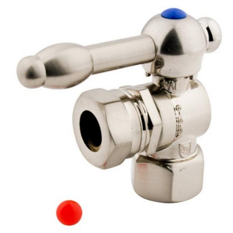 KINGSTON BRASS CC44108KL VINTAGE 1/2 INCH IPS, 1/2 INCH OR 7/16 INCH SLIP JOINT ANGLE SHUT-OFF VALVE IN SATIN NICKEL