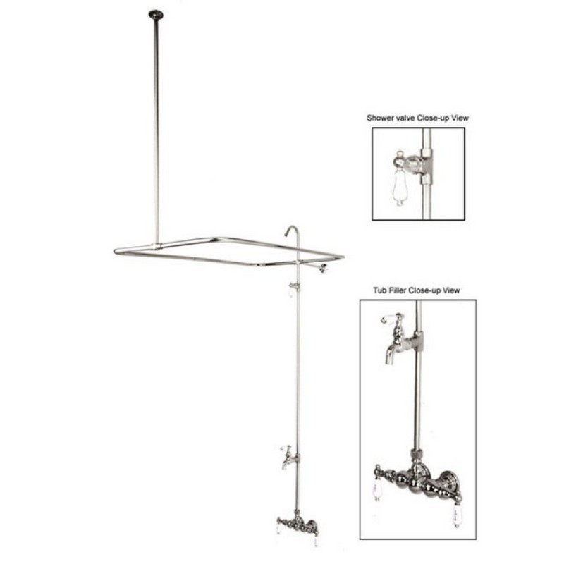 KINGSTON BRASS CC64T1 VINTAGE 3-3/8 INCH WALL MOUNT TUB FILLER IN POLISHED CHROME
