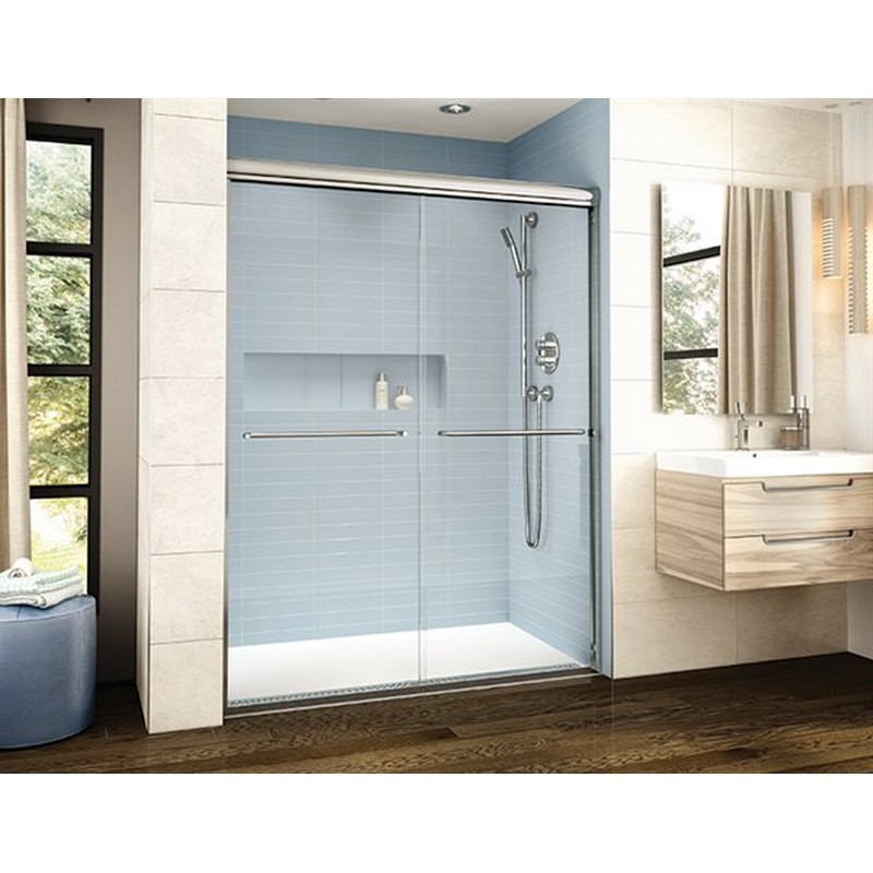 FLEURCO CL160-40 CORDOBA PLUS 56-60 W X 75 H INCH IN-LINE BYPASS SEMI-FRAMELESS SLIDING DOOR WITH 3/8 INCH CLEAR GLASS