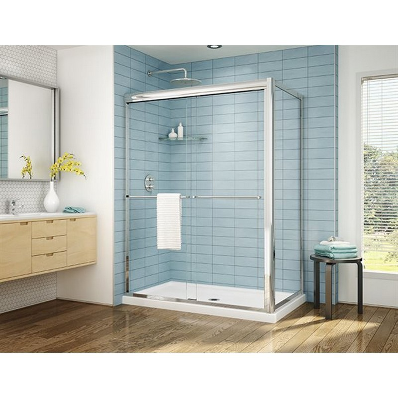 FLEURCO CLU60-40 CORDOBA PLUS 57-61 W X 75 H INCH 2-SIDED BYPASS SLIDING DOOR WITH RETURN PANEL AND 3/8 INCH CLEAR GLASS