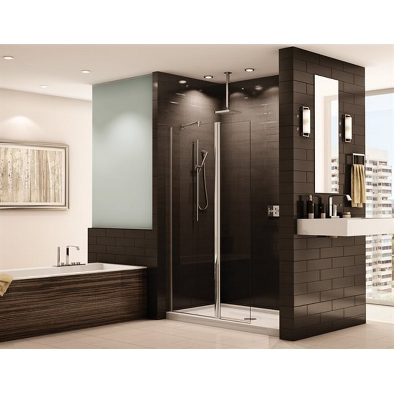 FLEURCO ESS24-40 SIENA 42-43 W X 76-1/2 H INCH PIVOT SHOWER SHIELD WITH FIXED PANEL AND 1/4 INCH CLEAR GLASS