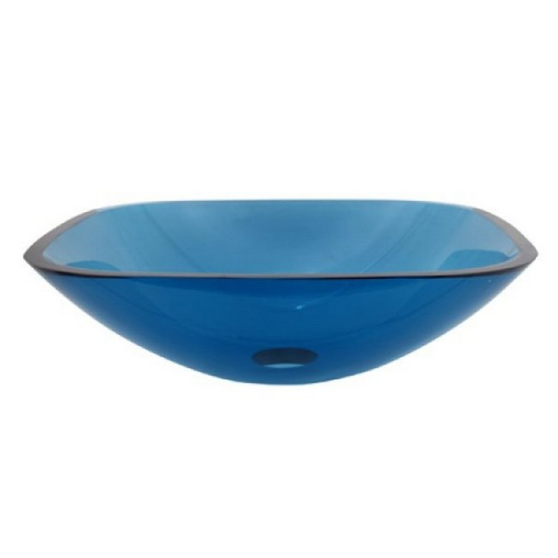 KINGSTON BRASS EVSQFB4 FAUCETURE TEMPLETON 1/2 INCH ROUND TEMPERED GLASS VESSEL SINK IN TOPAZ BLUE